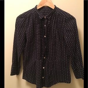 J. Crew Navy Blue White Polka Dot Pleated Blouse